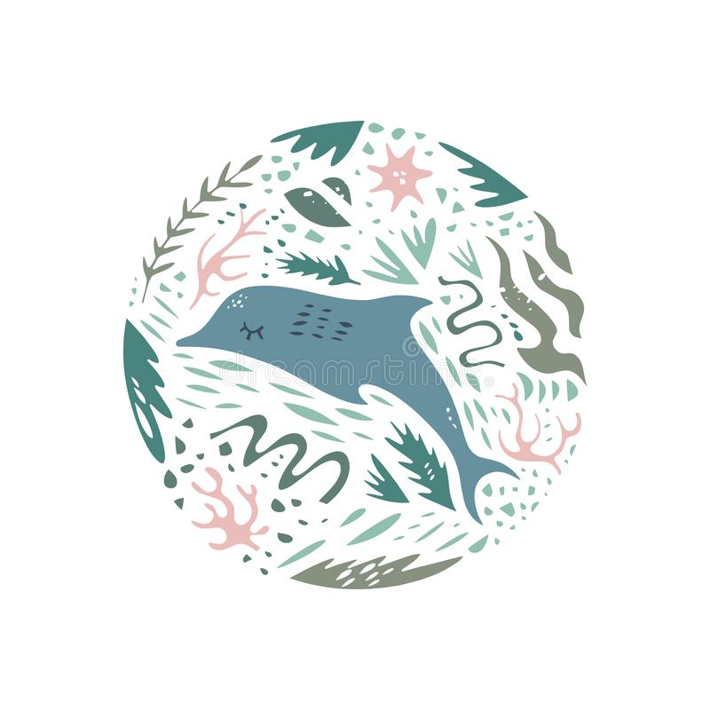Nette Handgezogenes Farbvektor-Kreismuster Seecharakter-Karikaturart Skizzentiere Netz, Aufkleber, Dekorkleid lizenzfreie abbildung