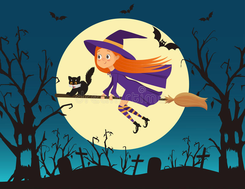 Nette Hexe des kleinen Mädchens mit einem Kätzchenfliegen auf einem Besen lizenzfreie abbildung