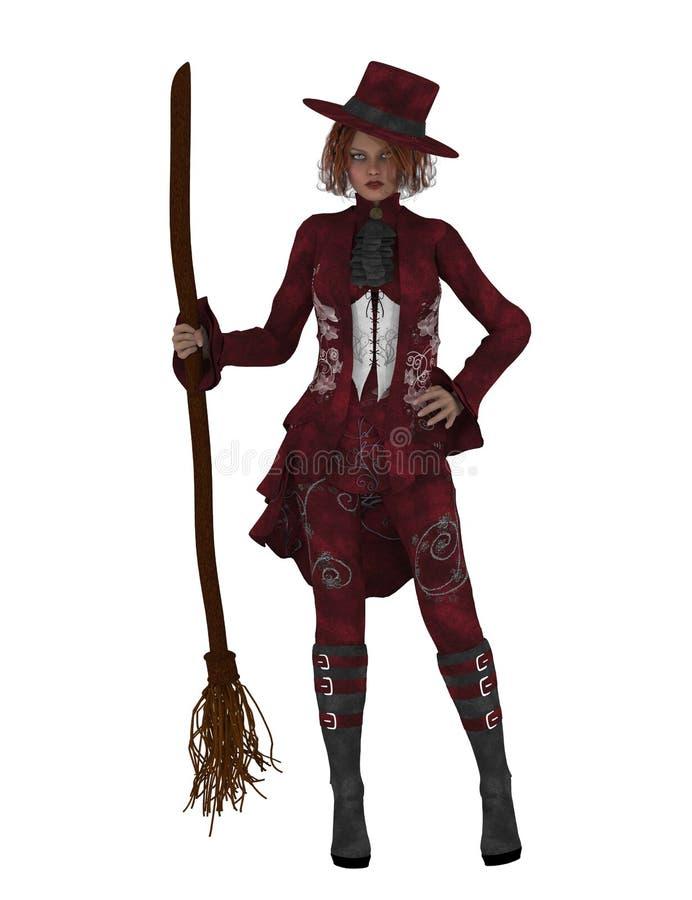 Nette Hexe mit Besen stock abbildung