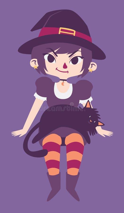 Nette Hexe mit schwarzen Cat Laying auf ihrem Schoss vektor abbildung