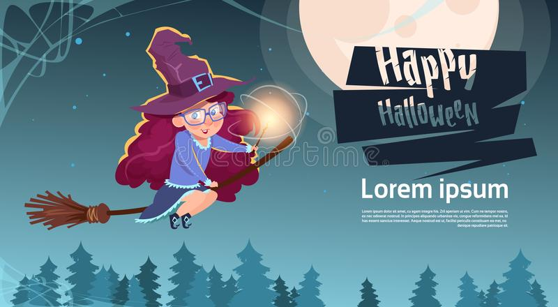 Nette Hexen-Fliege auf Besenstiel, glückliche Halloween-Fahne vektor abbildung