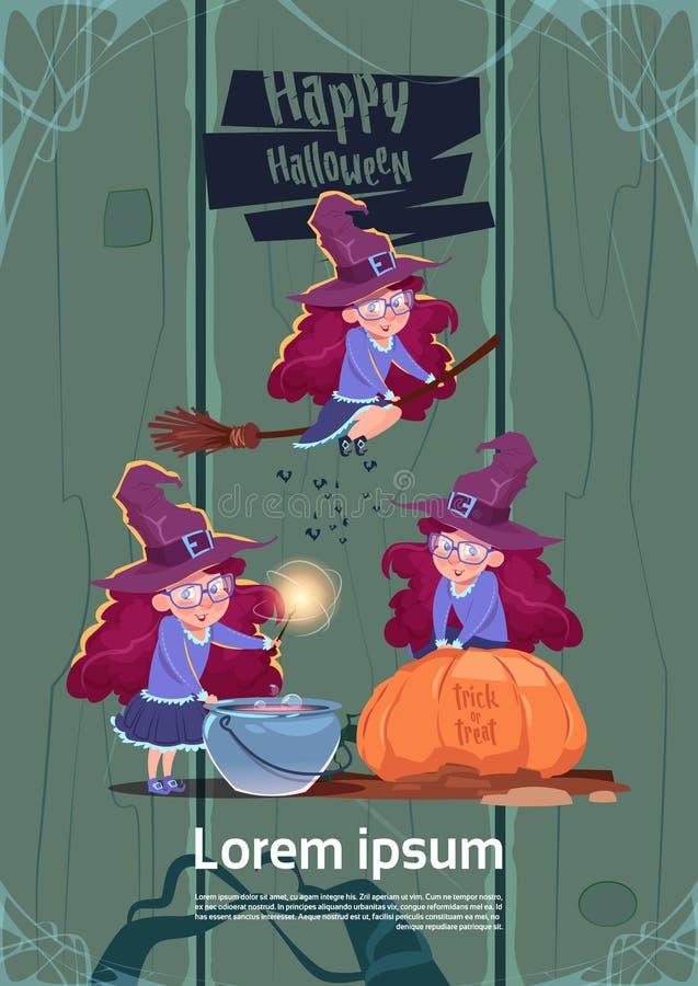 Nette Hexen-Fliege auf Besenstiel, Koch Potion In Pot, glückliches Halloween vektor abbildung