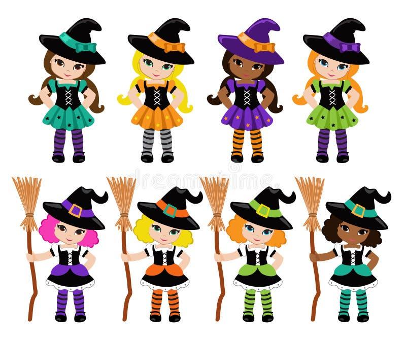 Nette Hexen und Gestaltungselemente Halloweens lizenzfreie abbildung