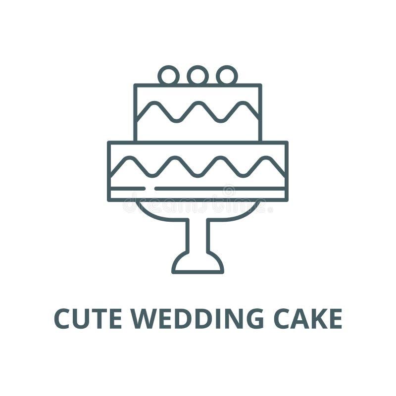 Nette Hochzeitstortevektorlinie Ikone, lineares Konzept, Entwurfszeichen, Symbol vektor abbildung