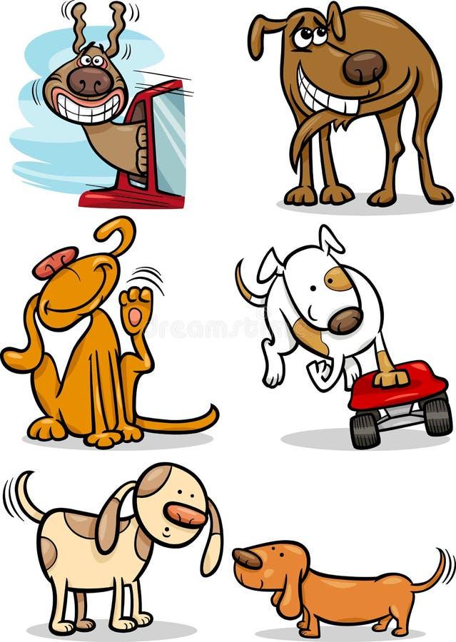 Nette Hunde der Karikatur eingestellt lizenzfreie abbildung