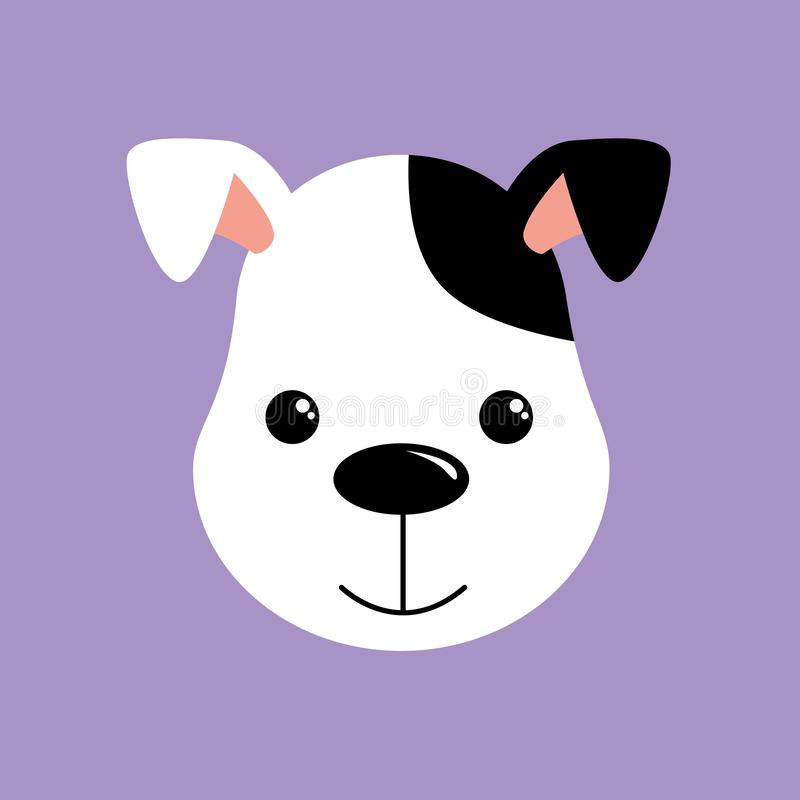 Nette Hundeabbildung Weißer und schwarzer Welpe lizenzfreie abbildung