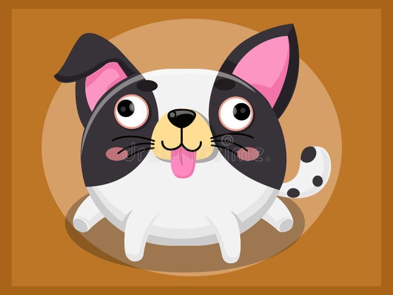 Nette Hundekarikatur Lustige Karikatur- und vektortierzeichen stock abbildung
