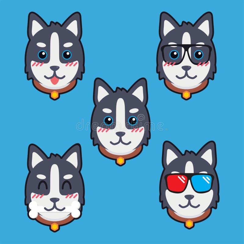 Nette Hundekarikatur-Vektor-Design-Illustrations-Schablone lizenzfreie abbildung
