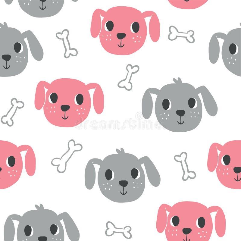Nette Hundenahtloses Muster lizenzfreie abbildung