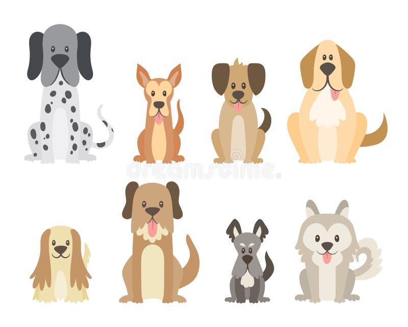 Nette Hundesammlung in der Karikaturart stock abbildung