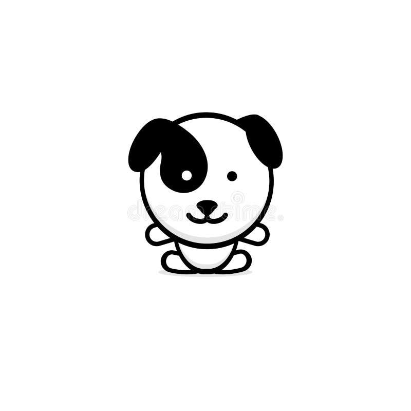 Nette Hundevektorillustration, Baby-Welpenlogo, neue Designkunst, streicheln schwarzes Farbzeichen, einfaches Bild, Bild mit Tier lizenzfreie abbildung