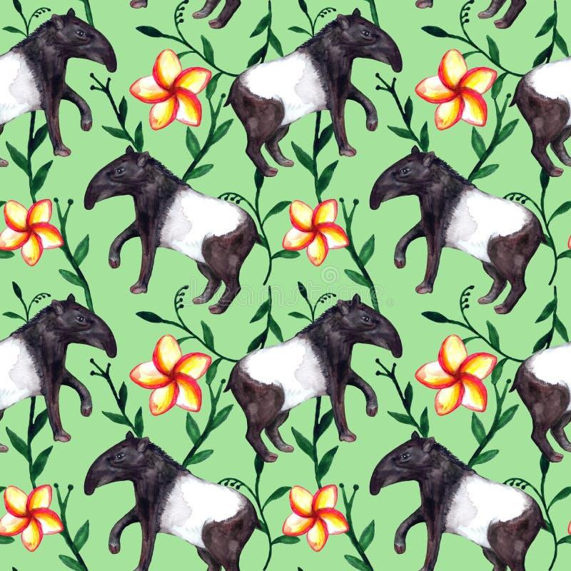 Nette hyper-realistische asiatische tropische Aquarelltiere Tapir und Blumen auf hellgrünem Hintergrund vektor abbildung
