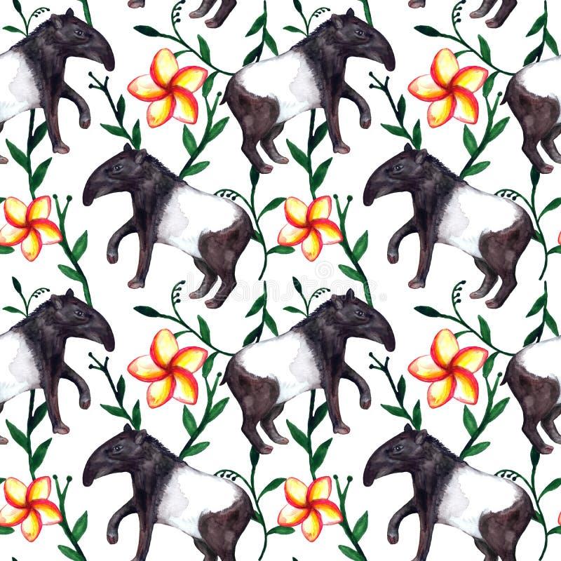 Nette hyper-realistische asiatische tropische Aquarelltiere Tapir und Blumen auf weißem Hintergrund stock abbildung