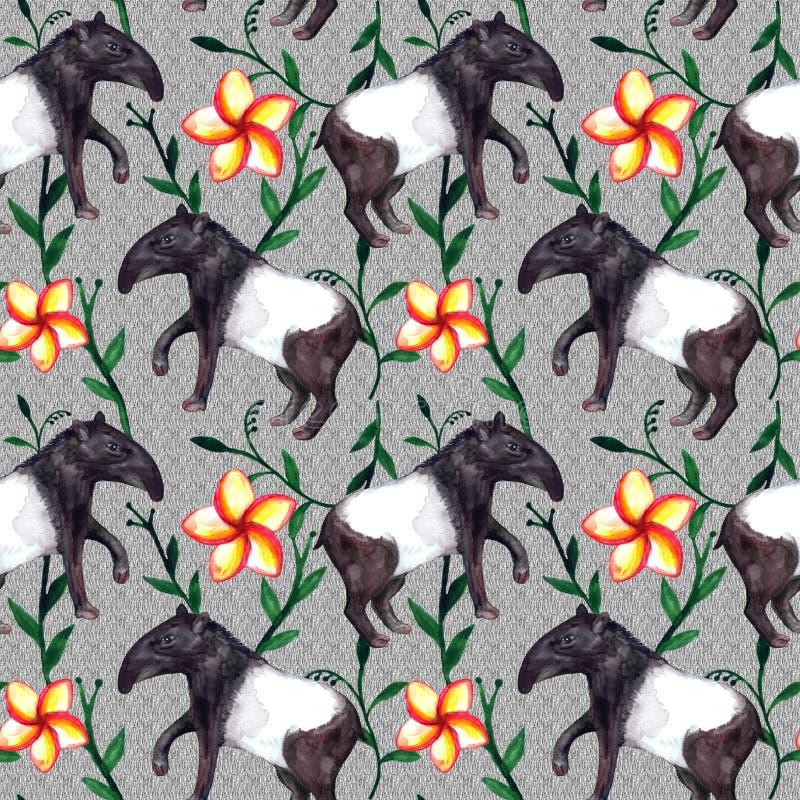 Nette hyper-realistische asiatische tropische Aquarelltiere Tapir und Blumen, grau stock abbildung