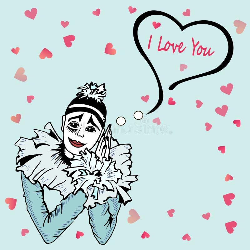 Nette ich liebe dich Karte mit Hand gezeichnetem Pierrot lokalisiert auf blauem Hintergrund lizenzfreie abbildung