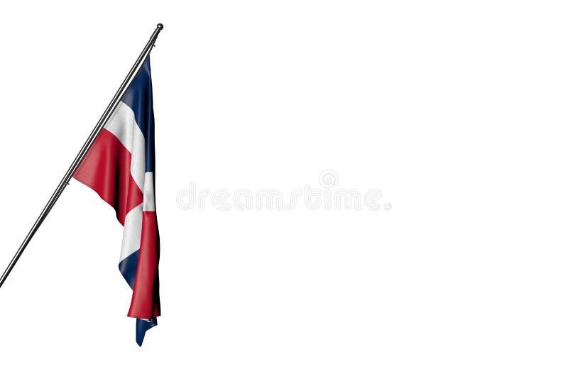 Nette Illustration der Feierflagge 3d - Flagge der Dominikanischen Republik hängt an einem herein Eckpfosten, der auf Weiß lokali stock abbildung