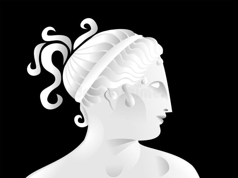 Nette Illustration des Profils einer griechischen Frauenskulptur vektor abbildung