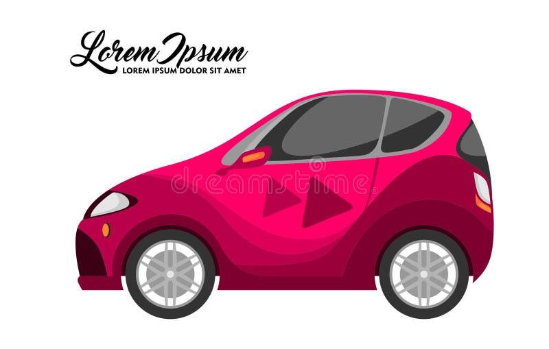 Nette Illustration des Stadt-Auto-Entwurfs, rote Reihe lizenzfreie abbildung