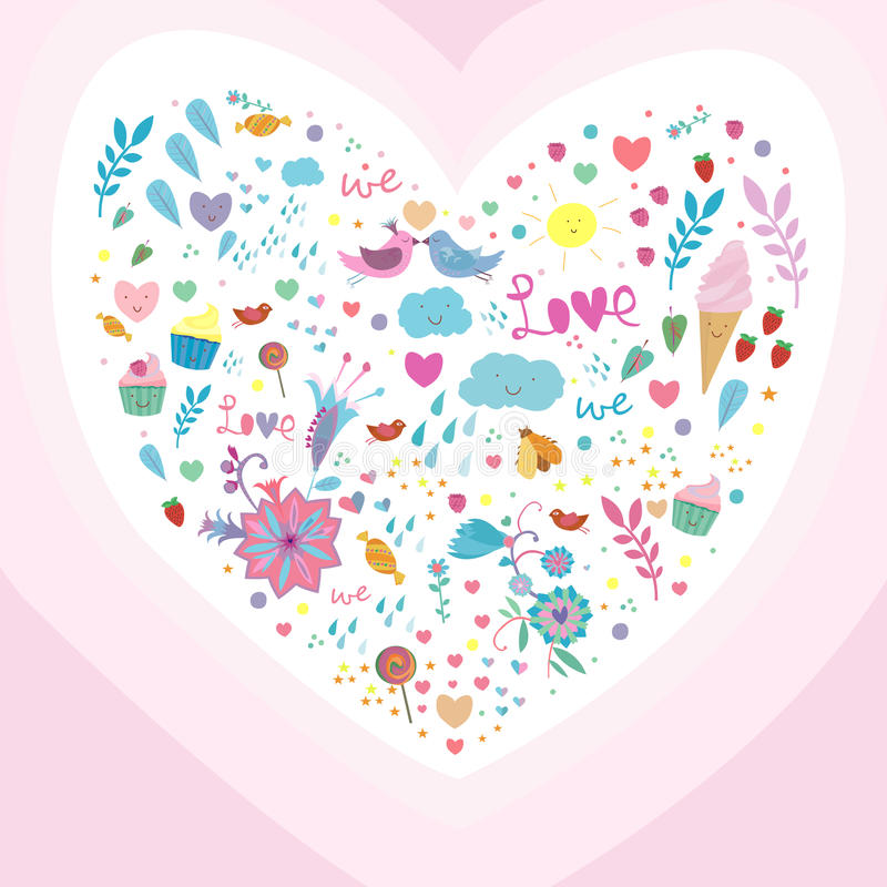 Nette Illustration mit Herzen stockfoto