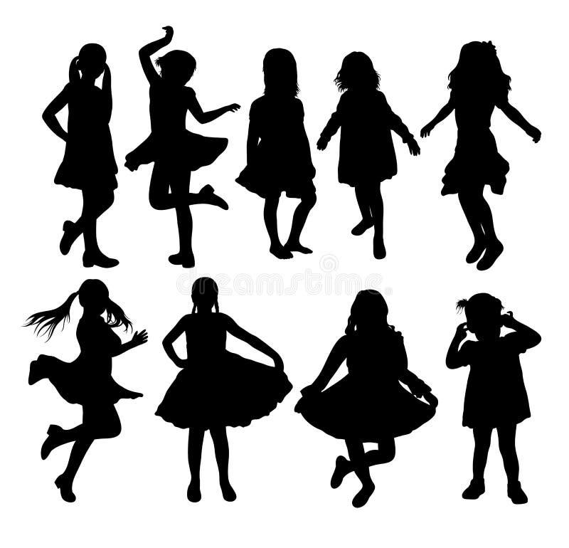 Nette junges Mädchen-Schattenbilder, Vektordesign stock abbildung