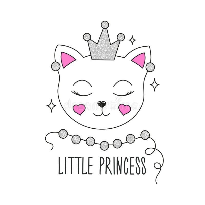 Nette Kätzchenabbildung Wenig Prinzessintext Design für Kinder Arbeiten Sie Illustrationszeichnung in der modernen Art für Kleidu vektor abbildung