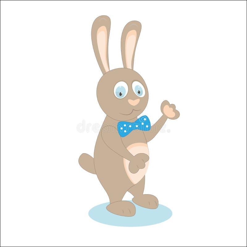 Nette Kaninchenkarikatur auf dem weißen Zum Abschied winken Tragen eines Bogens Vektor lizenzfreie abbildung