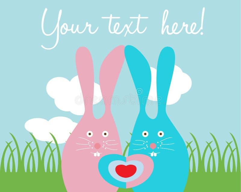 Nette Kaninchenliebeskarte vektor abbildung