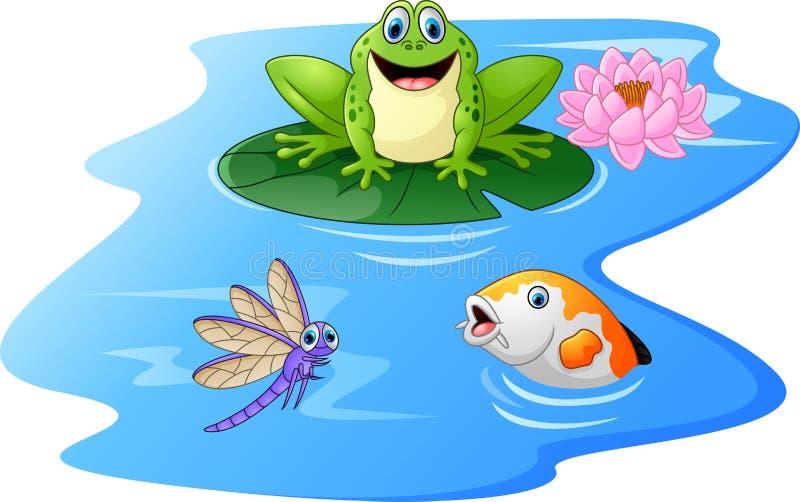 Nette Karikatur des grünen Frosches auf einem Travertin lizenzfreie abbildung