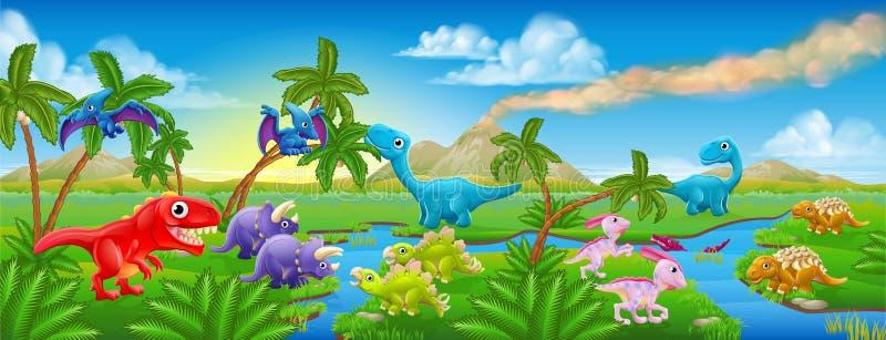 Nette Karikatur-Dinosaurier-Szenen-Landschaft lizenzfreie abbildung