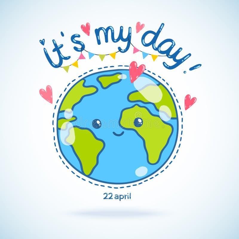 Nette Karikatur Erdkugel. Tag der Erde-Hintergrund. stock abbildung