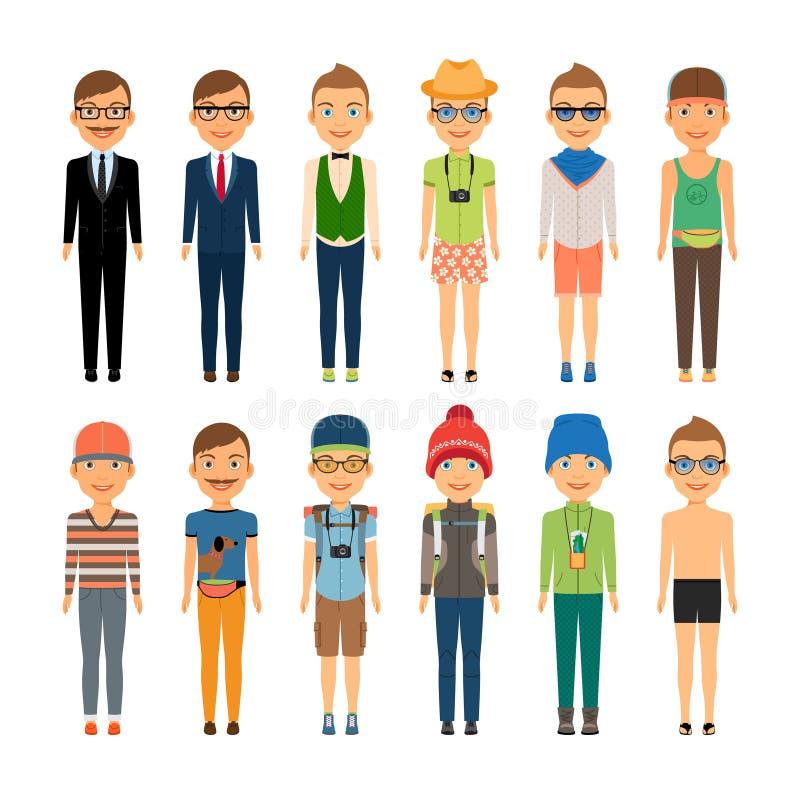 Nette Karikatur-Jungen in sortierten Kleidungs-Arten vektor abbildung