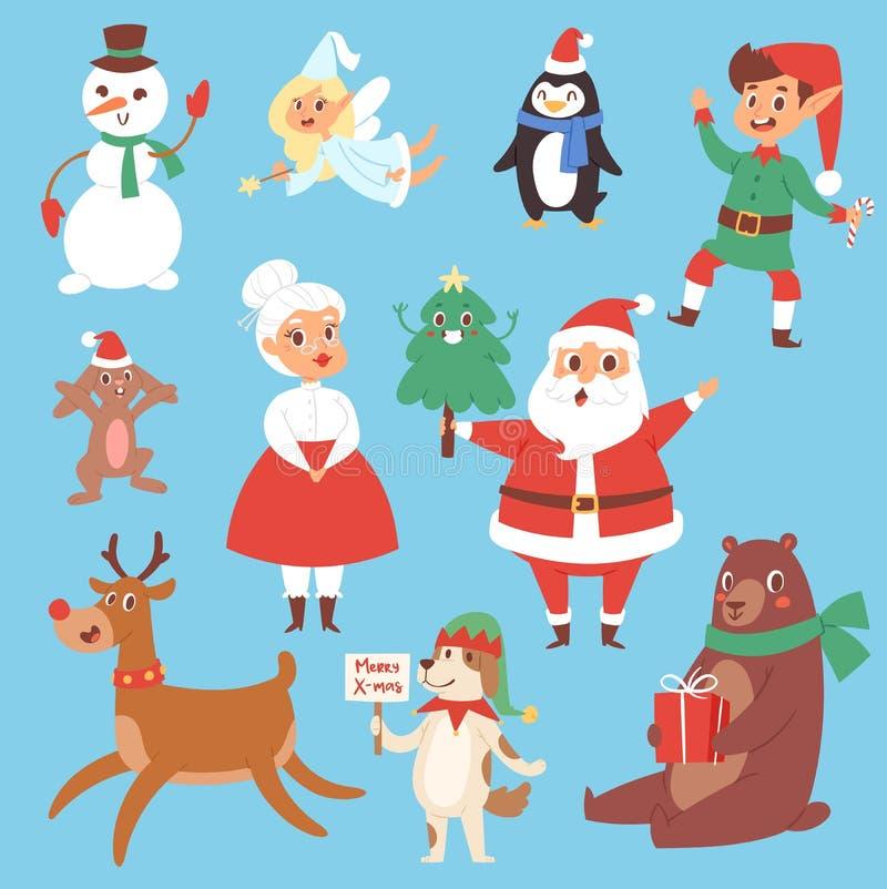 Nette Karikatur Santa Claus der Weihnachtsvektor-Charaktere, stock abbildung