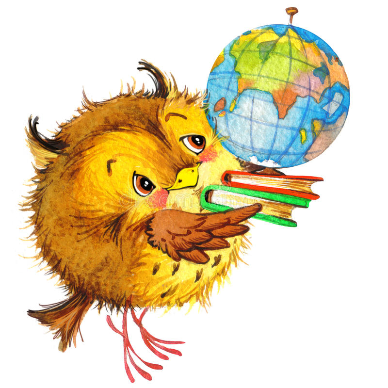 Nette Karikatur Schulschule scherzt Bildungshintergrund Nettes Tier-watercolorwatercolor lizenzfreie abbildung
