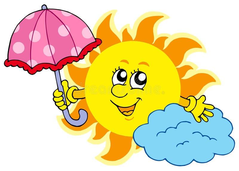 Nette Karikatur Sun mit Regenschirm stock abbildung