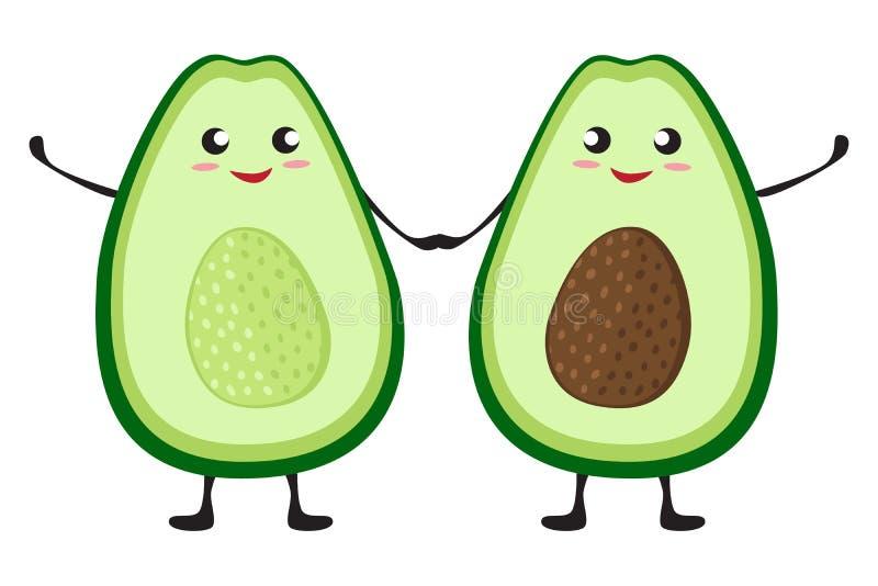 Nette Karikaturavocadocharaktere freunde Zwei Avocadoh?lften H?nde, St.-Valentinsgru?tagesgru?kartenzeichnung halten vektor abbildung