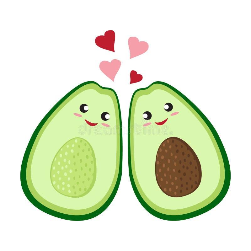 Nette Karikaturavocadopaare in der Liebe Zwei Avocadoh?lften mit Herzen, St.-Valentinsgru?tagesgru?kartenzeichnung Getrennt vektor abbildung