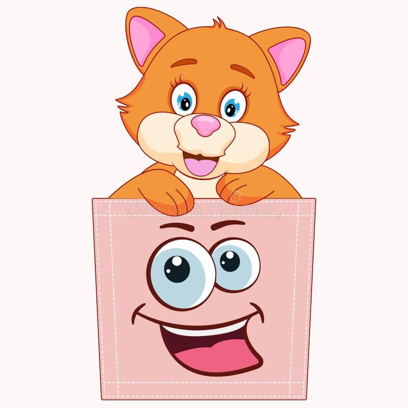 Nette Karikaturbabykatze, die in einer Tasche und in einem lächelnden Spaß sitzt stock abbildung