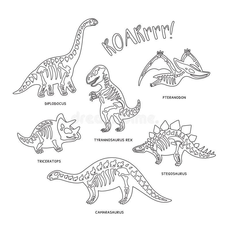 Nette Karikaturdinosaurier-Skelettschattenbilder im Entwurf Auch im corel abgehobenen Betrag vektor abbildung