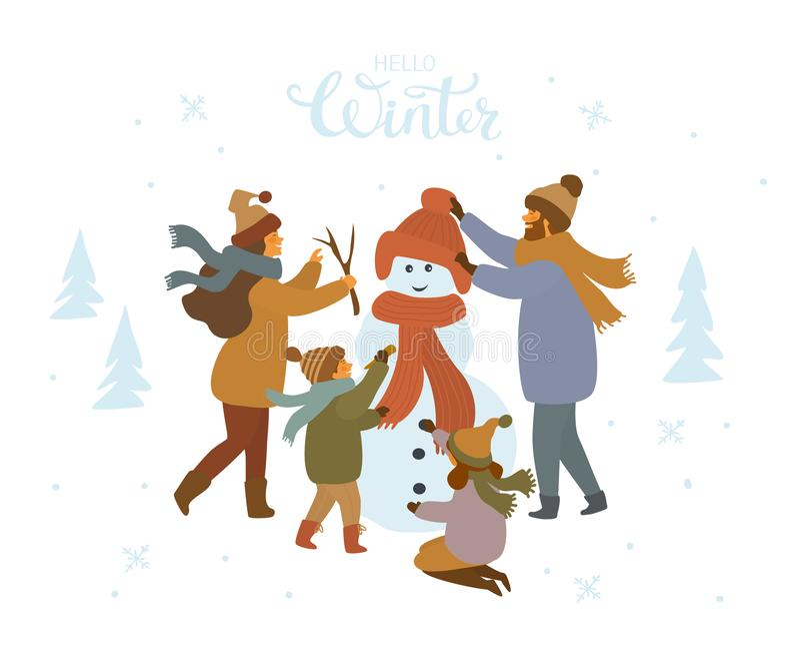 Nette Karikaturfamilie, die ein Schneemannfreien, Winter lokalisierte Vektorillustration macht lizenzfreie abbildung