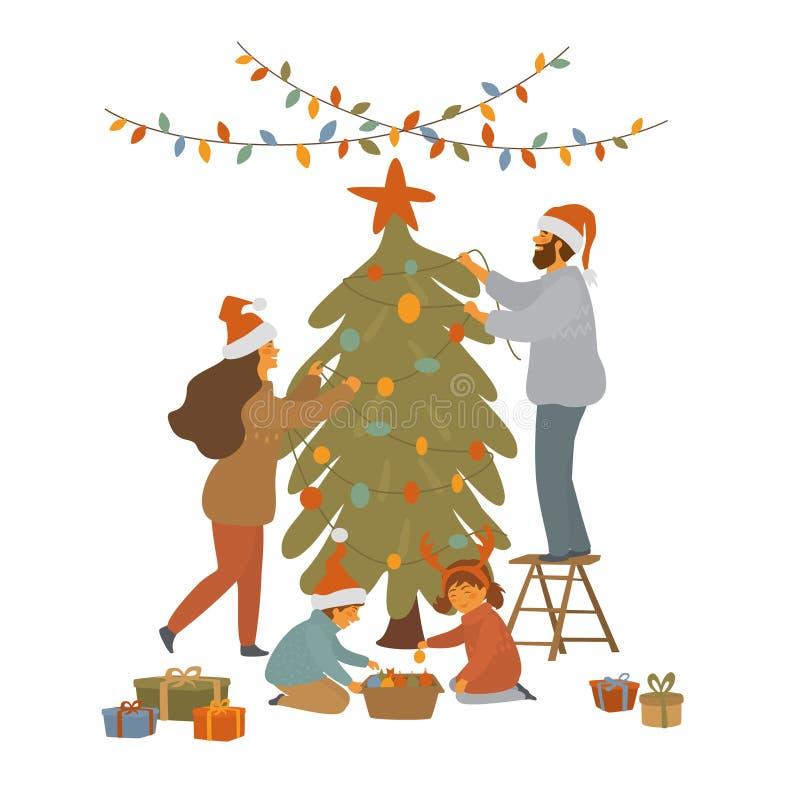 Nette Karikaturfamilie verziert Weihnachtsbaum mit Lichtgirlanden und Bälle lokalisierter Vektorillustration vektor abbildung