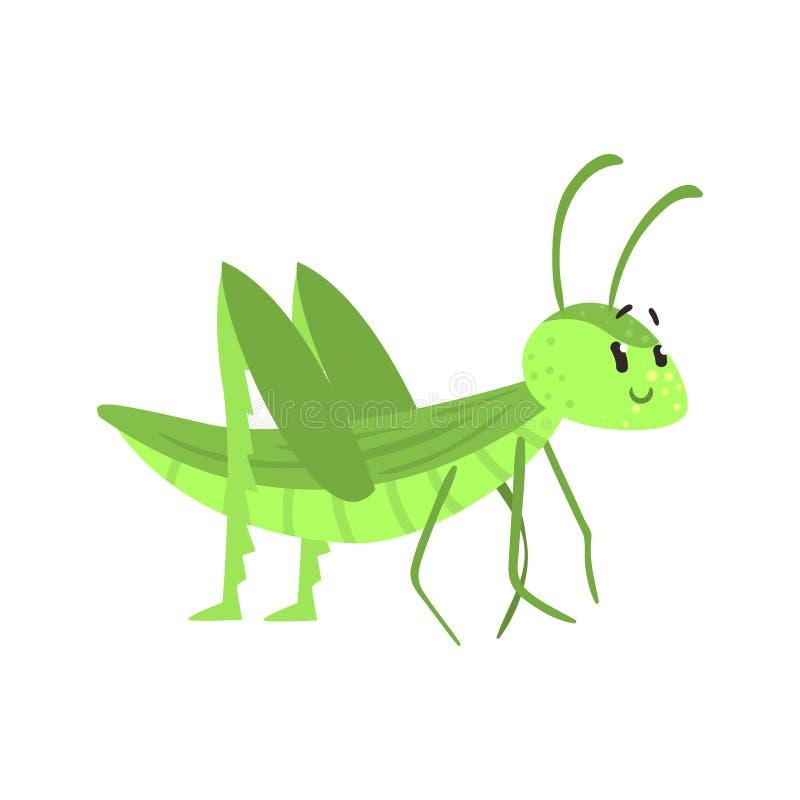 Nette Karikaturgrünheuschreckencharakter-Vektor Illustration lizenzfreie abbildung