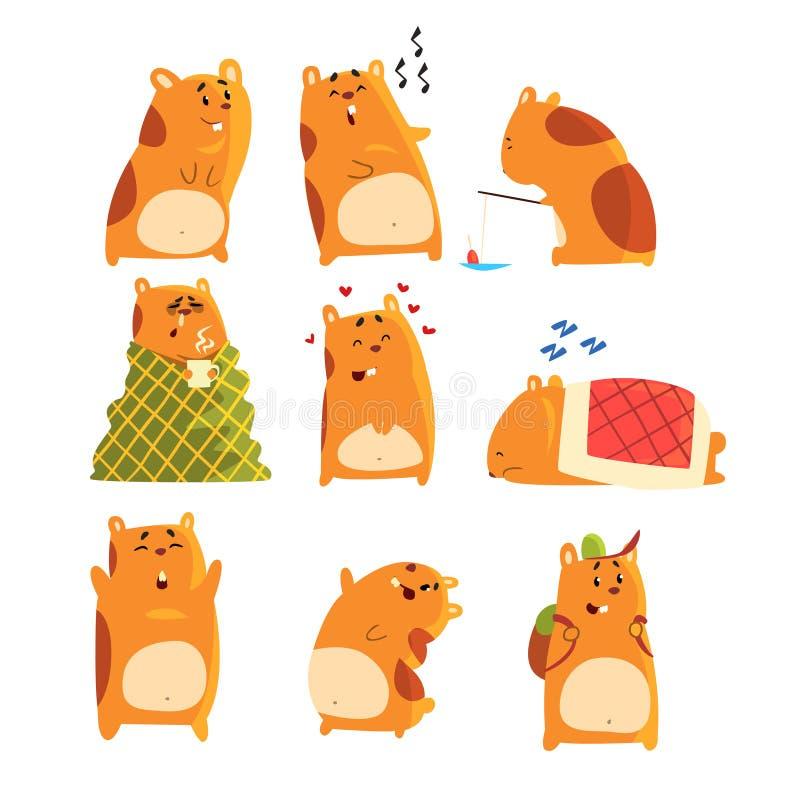 Nette Karikaturhamstercharaktere stellen ein, das lustige darstellende Tier, dass verschiedene Aktionen und Gefühle Illustratione stock abbildung