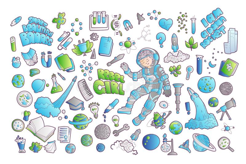 Nette Karikaturikonen auf Wissenschaft, Schule, Studienthema Physik, Chemie, Astronomie und andere Wissenschaften - Vektor lizenzfreie abbildung