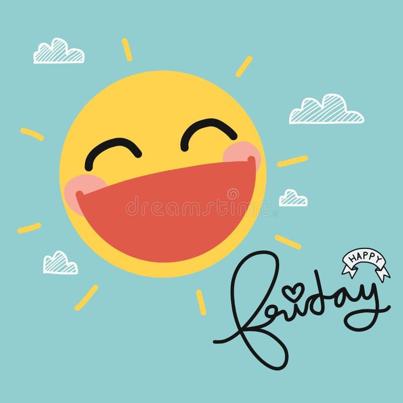 Nette Karikaturillustration des glücklichen Freitag-Sonnenlächelns lizenzfreies stockbild