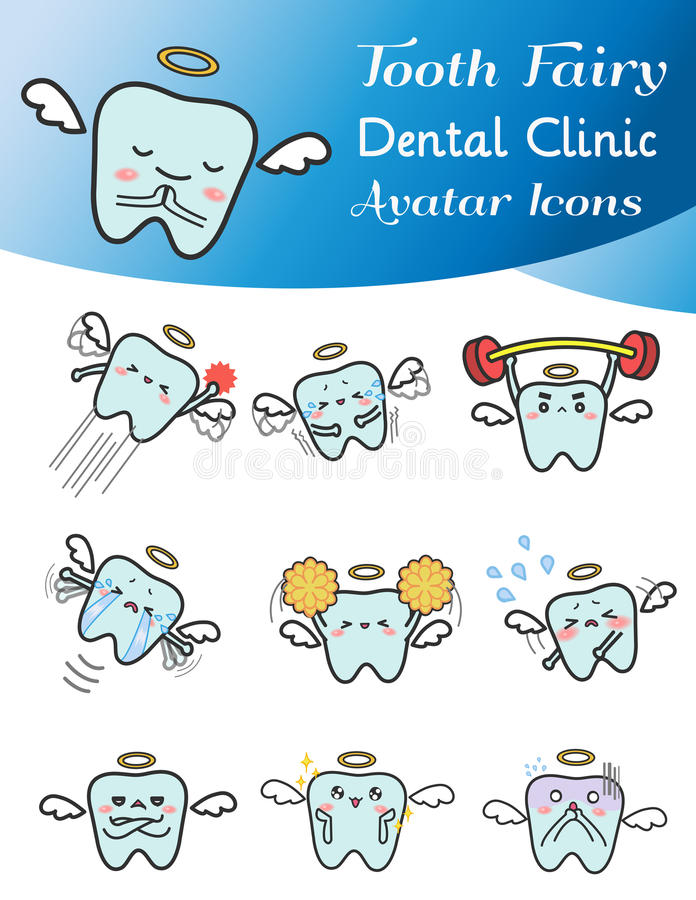 Nette Karikaturillustration des Zahnfeen-Avataraikonensatzes lizenzfreie abbildung