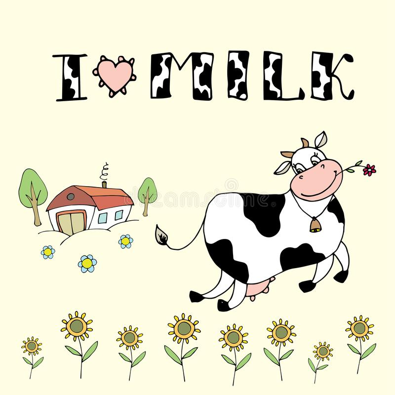Nette Karikaturkuh, Bauernhofhintergrund und ich lieben Milchaufschrift lizenzfreie abbildung