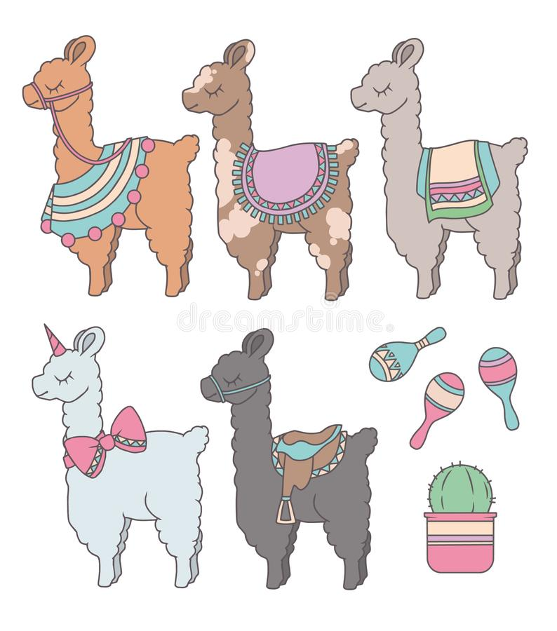 Nette Karikaturlamas oder -alpakas mit grafischem Illustrationssatz des Kaktus und des peruanischen Rumbaschüttels-apparat vektor abbildung
