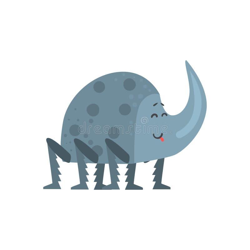Nette Karikaturnashornkäfer-Charaktervektor Illustration lizenzfreie abbildung