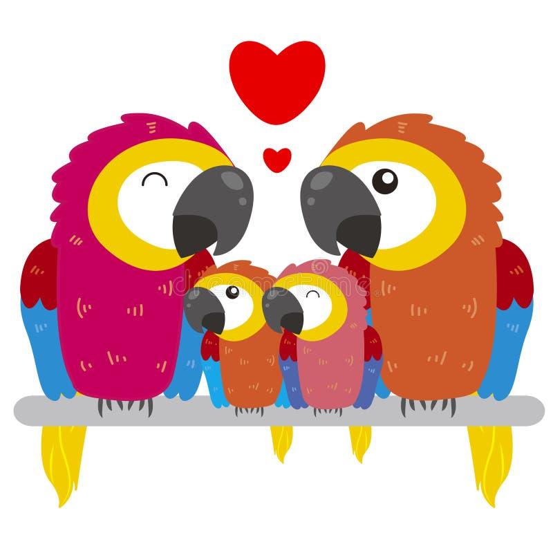 Nette Papageienfamilie lizenzfreie abbildung
