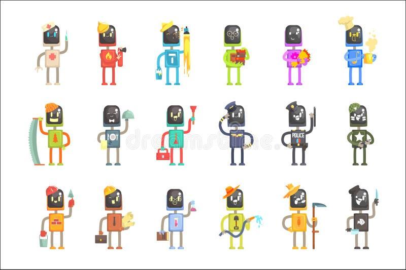 Nette Karikaturroboter in den verschiedenen Berufen stellten von bunten Charaktervektor Illustrationen ein lizenzfreie abbildung